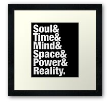 Infiniti Gems - Soul& Time& Mind& Space& Power& Reality. Framed Print