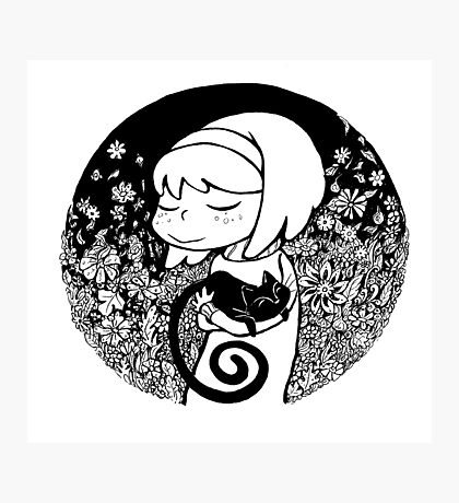 Girl and black cat Photographic Print
