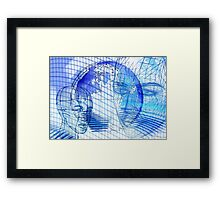 Blue Scape Head Wire  Framed Print