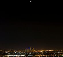 Perth city night sky with a star by chobephotos