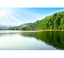 Summer emerald lake with blue sky and sun rays. Photographic Print