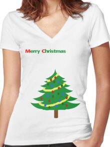 Christmas Tree with Snow and Decorations Women's Fitted V-Neck T-Shirt