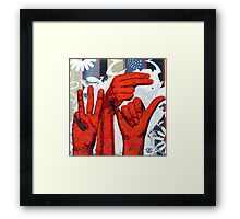 Sign09WHY - Hands using American Sign Language for the word WHY Framed Print