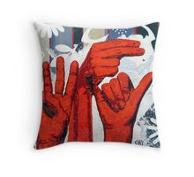 Sign09WHY - Hands using American Sign Language for the word WHY Throw Pillow