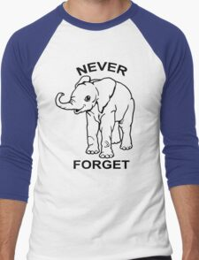 Baby Elephant Never Forget Funny TShirt Epic T-shirt Humor Tees Cool Tee Men's Baseball ¾ T-Shirt
