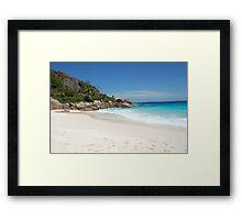 white sand in Seychelles Framed Print