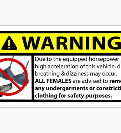 Horsepower Warning Sticker