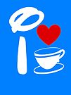 I Heart Tea Cups (Inverted)  by ShopGirl91706