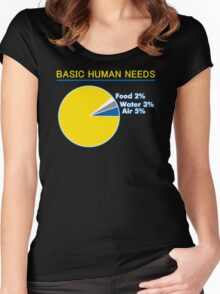 Basic Human Needs Funny TShirt Epic T-shirt Humor Tees Cool Tee Women's Fitted Scoop T-Shirt