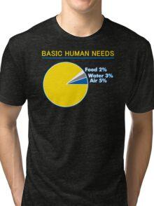 Basic Human Needs Funny TShirt Epic T-shirt Humor Tees Cool Tee Tri-blend T-Shirt