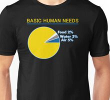 Basic Human Needs Funny TShirt Epic T-shirt Humor Tees Cool Tee Unisex T-Shirt