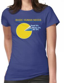 Basic Human Needs Funny TShirt Epic T-shirt Humor Tees Cool Tee Womens Fitted T-Shirt