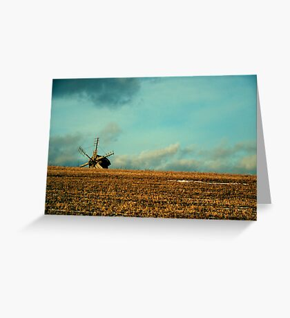 a mill is in the field of wheat Greeting Card
