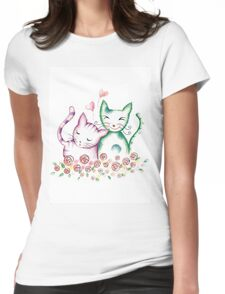 Valentine's Day Cats Womens Fitted T-Shirt