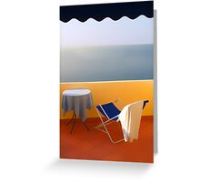 Balcony with a view. Morning Greeting Card