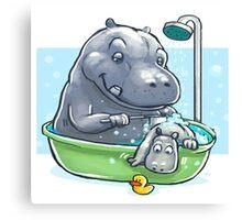 Hippo Bath Canvas Print