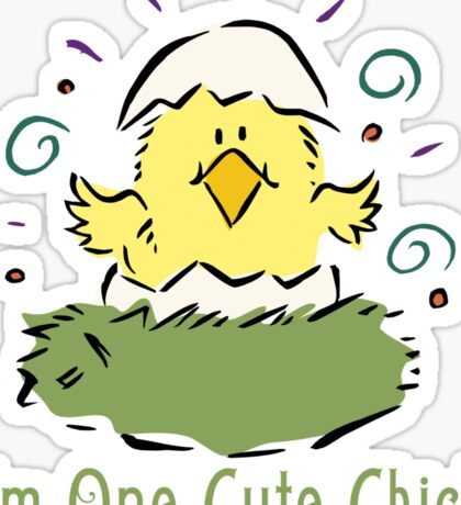 """Easter Chick """"I'm One Cute Chick"""" Sticker"""