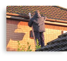 Cleaning out the Guttering. Canvas Print
