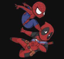 Spiderman kick Deadpool by Veldead