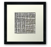Black and white grid watercolor Framed Print