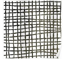 Black and white grid watercolor Poster