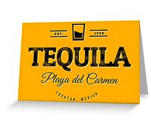 Tequila Vintage Typography Badge Greeting Card