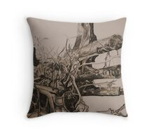Landscape Study in Pencil.  Chopped Tree Throw Pillow