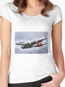 Qantas Airbus A380 Art Women's Fitted Scoop T-Shirt