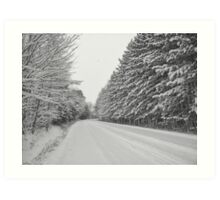 White Winter Country Road Art Print