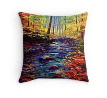 Autumn Maple Stream Throw Pillow