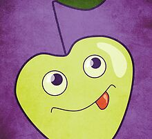 Cute Smiling Cartoon Apple by Boriana Giormova