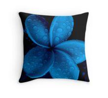 Dark Blue-(Frangipani Drops) Throw Pillow