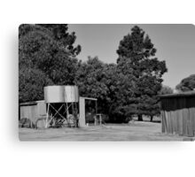 Water tanks and old shed Canvas Print