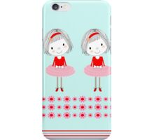 Pretty Girly Illustration Little Girls In A Row iPhone Case/Skin