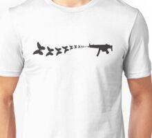 Gun shooting butterflies Unisex T-Shirt