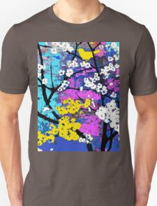 Spring Flowers of White and Yellow Birds Unisex T-Shirt