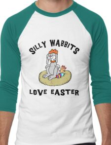 "Funny Easter Bunny ""Silly Wabbits Love Easter"" Men's Baseball ¾ T-Shirt"