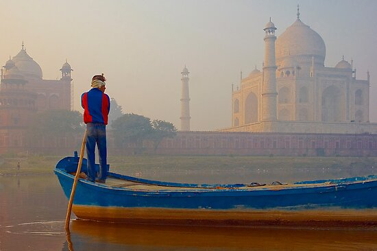The Taj Mahal and the Golden Foggy Morning Hours by Mukesh Srivastava