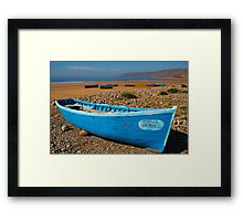 Blue fishing boat in Essaouira, Morocco Framed Print