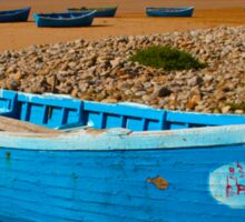 Blue fishing boat in Essaouira, Morocco Sticker