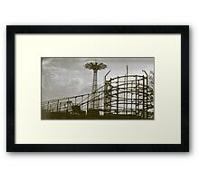 Coney Island Thunderbolt Ride and Parachute Jump Framed Print