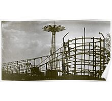 Coney Island Thunderbolt Ride and Parachute Jump Poster