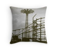 Coney Island Thunderbolt Ride and Parachute Jump Throw Pillow