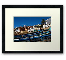 Blue fishing boats near Agadir, Morocco Framed Print