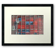 building with solar blinds Framed Print