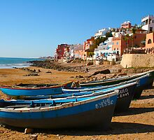 Blue fishing boats in Ahrud near Agadir, Morocco by Atanas Bozhikov