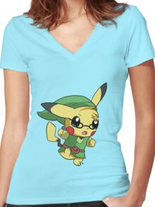 Pikachu Link! Women's Fitted V-Neck T-Shirt
