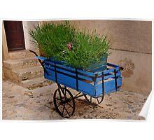 Blue Wheelbarrow Poster