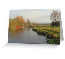 Mid-winter on the River Itchen below Winchester in winter from St Cross bridge, southern England Greeting Card