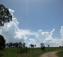 Clouds on the horizon and over the hill with letterbox. by Marilyn Baldey